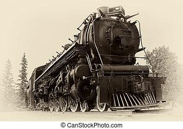 ouderwetse , stijl, foto, van, stoom trein