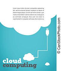 ouderwetse , stijl, gegevensverwerking, wolk, poster