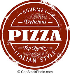 ouderwetse , stijl, pizza, postzegel