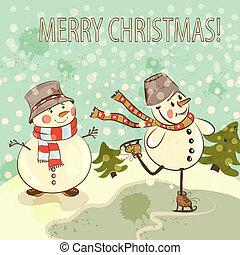 ouderwetse , stijl, snowmen, kerstmis kaart