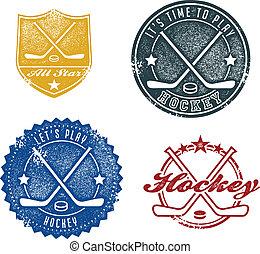 ouderwetse , stijl, sportende, hockey, postzegels