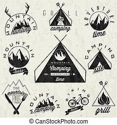 ouderwetse , stijl, symbolen, voor, berg