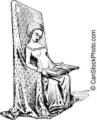 ouderwetse , stoel, eeuw, vijftiende, engraving.