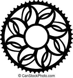ouderwetse , symbool, chainwheel, fiets, tandrad