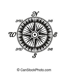 ouderwetse , symbool, kompas, wereld, monochroom, kanten