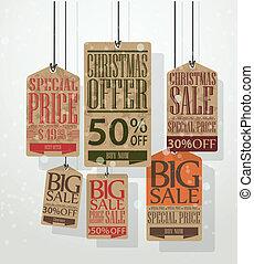 ouderwetse , tags., verkoop, stijl, kerstmis