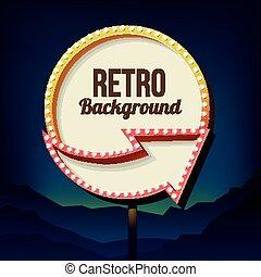 ouderwetse , teken., lights., retro, reclame, buitenreclame, straat, 3d