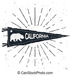 ouderwetse , teken., vlag, hand, vector, wimpel, avontuur, getrokken, californië