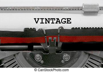 ouderwetse , tekst, door, de, oud, typemachine, op wit, papier