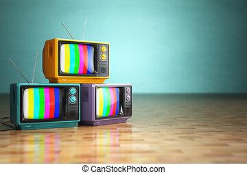 ouderwetse , televisie, concept., stapel, van, retro, tv stel, op, groene, backg