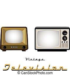 ouderwetse , televisie, stellen