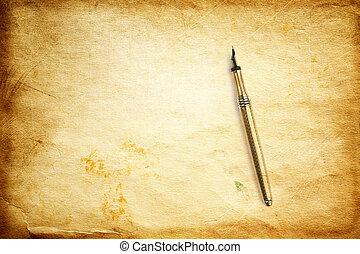 ouderwetse , textuur, met, ink-pen