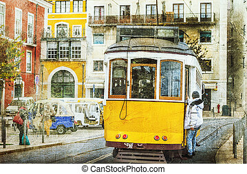 ouderwetse , trams, in, lissabon