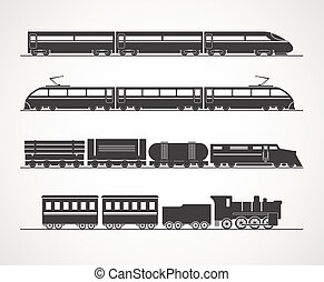 ouderwetse , trein, moderne, silhouette, verzameling