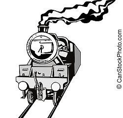 ouderwetse , trein, retro