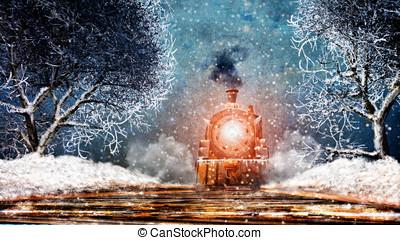 ouderwetse , trein, sneeuw storm, nacht