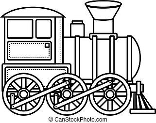 ouderwetse , trein, vector, icon.