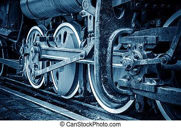 ouderwetse , trein, wielen, closeup