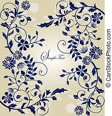 ouderwetse , trouwfeest, ontwerp, uitnodiging, floral, kaart