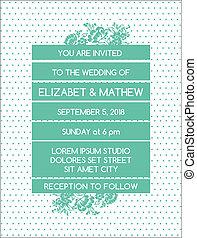 ouderwetse , trouwfeest, -, thema, vector, uitnodiging, floral, kaart