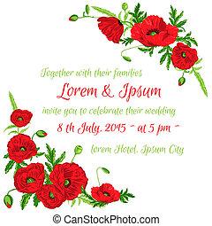 ouderwetse , trouwfeest, -, thema, vector, uitnodiging, floral, klaproos, kaart