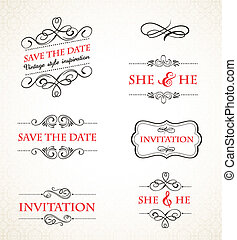 ouderwetse , trouwfeest, vector, set, uitnodigingen