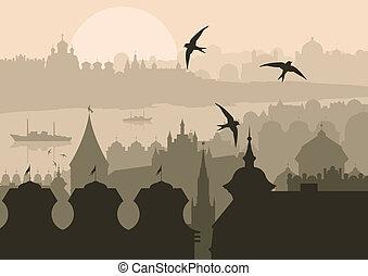 ouderwetse , turkse , istanboel, landscape, stad