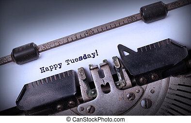 ouderwetse , typemachine, close-up, -, vrolijke , dinsdag
