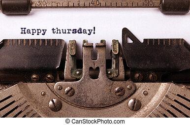ouderwetse , typemachine, close-up, -, vrolijke , donderdag