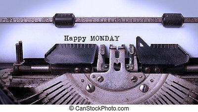 ouderwetse , typemachine, close-up, -, vrolijke , maandag