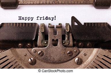 ouderwetse , typemachine, close-up, -, vrolijke , vrijdag
