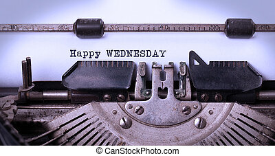 ouderwetse , typemachine, close-up, -, vrolijke , woensdag