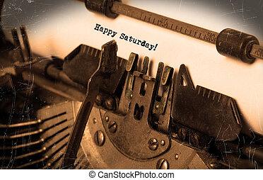 ouderwetse , typemachine, close-up, -, vrolijke , zaterdag