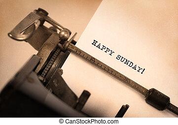 ouderwetse , typemachine, close-up, -, vrolijke , zondag