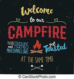 ouderwetse , typografie, poster, illustration., welkom, om te, ons, kampvuur, met, grunge, effect., gekke , t-shirt, ontwerp, met, kamperen, symbolen, -, vreugdevuur, en, marshmallow., liggen, vector
