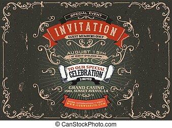 ouderwetse , uitnodiging, achtergrond, poster