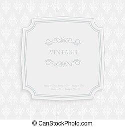 ouderwetse , uitnodiging, groet, vector, model, floral, kaart