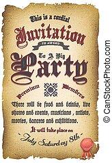 ouderwetse , uitnodiging, oud, middeleeuws, poster