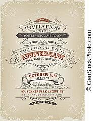 ouderwetse , uitnodiging, poster