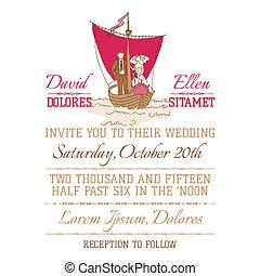 ouderwetse , uitnodiging, -, thema, vector, nautisch, plakboek, trouwfeest, ontwerp, kaart