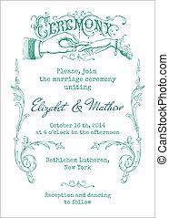 ouderwetse , uitnodiging, -, vector, huwlijkskaart
