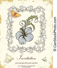 ouderwetse , uitnodigingskaart, met, sierlijk, elegant, retro, abstract, floral ontwerpen