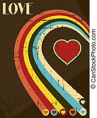 ouderwetse , valentines, calligraphic, achtergrond., tekst, ...