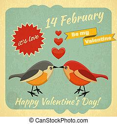 ouderwetse , valentines dag, kaart