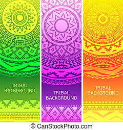ouderwetse , van een stam, illustratie, banners., vector, ethnische
