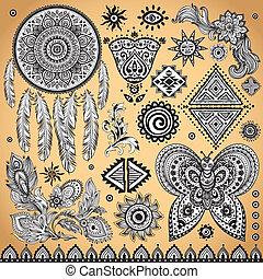 ouderwetse , van een stam, set, ethnische , model
