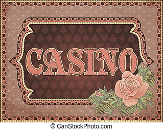 ouderwetse , vector, achtergrond, casino