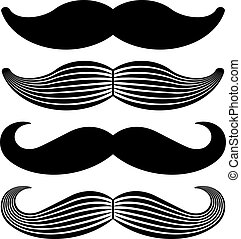 ouderwetse , vector, black , mustache, iconen