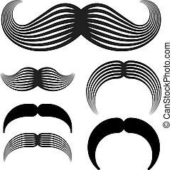 ouderwetse , vector, black , mustache, iconen
