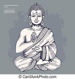 ouderwetse , vector, boeddha, illustratie